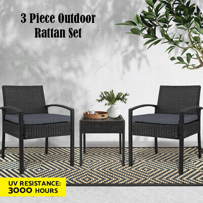 AU176.90 • Buy Gardeon Patio Furniture 3 Piece Wicker Outdoor Lounge Setting Rattan Set Black