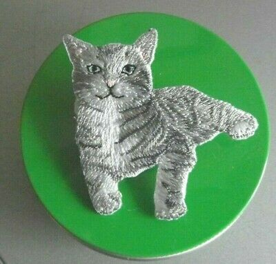 Silver Tabby Cat EMBROIDERED BROOCH  Birthday Gift • 9.95£
