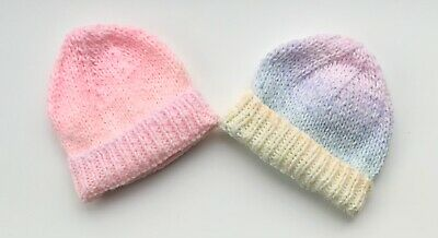 2 New Hand Knit Hats For A Premature Baby 👧  • 0.99£
