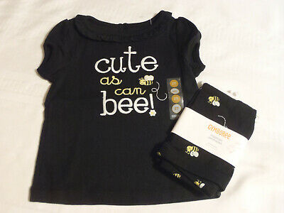 $30 • Buy GYMBOREE Bee Chic Girls 2T Black Cotton Shirt 18-24 Month Leggings Outfit NWT