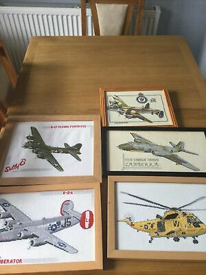 5 X Assorted Sizes Framed Finished Cross Stitch Pictures Of Planes & Helicopter • 8£