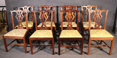$3230 • Buy Set 8 Solid Mahogany Chippendale Dining Room Chairs With Damask Slip Seats
