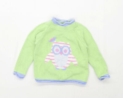 LL Bean Girls Graphic Green Owl Jumper Age 3 Years • 7£