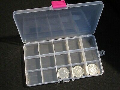 50p Fifty Pence Storage Box Holder Money Container  50p Or £2 Pound • 1.99£