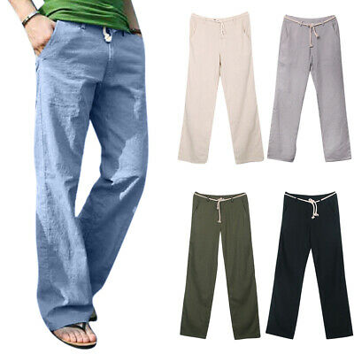 $19.94 • Buy Mens Straight Leg Pants Casual Beach Loose Trousers Leisure Baggy Lounge Bottoms