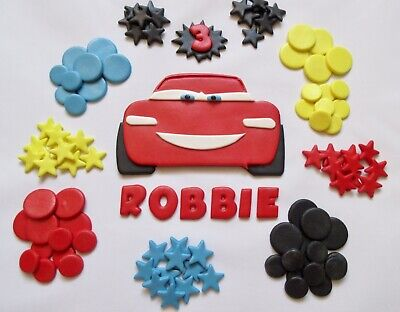 Disney's Cars Lightning McQueen Edible Cake Topper Personalised Fondant. • 10.90£