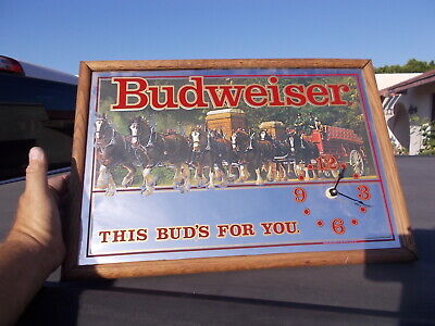 $ CDN63.57 • Buy Vintage Budweiser Clydesdale Team Mirror Advertising Sign Clock Man Cave