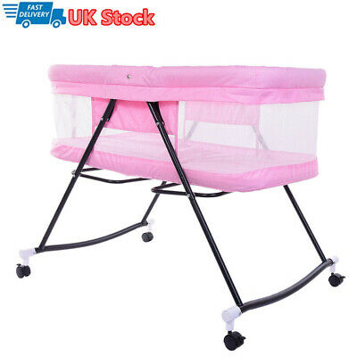 Foldable Bedside Crib Baby Cot Bed With Mattress Mosquito Net Wheels Pink • 49.99£