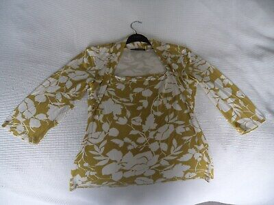 Alex & Co Beautiful Women's Mustard Floral Square Neck Stretch Top Size Uk 16 • 4.99£