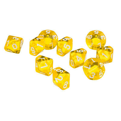 AU7.99 • Buy D10 Yellow Ten Sided Gem Dice For RPG