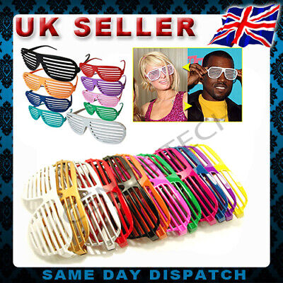 Fancy Dress Neon Shutter Shades Glasses Retro Party Club Costume Slotted Night • 1.65£