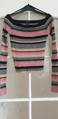 Striped Multicolour Ribbed Bardot Off  The Shoulder Top - Size 6 • 2.49£