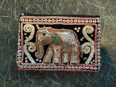 Ladies Vintage Cotton Sequin Embroidered Elephant Wallet Coin Purse Card Holder • 3£
