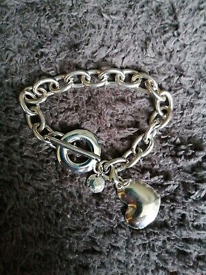 Dansk Smykkekunst T-bar Trinket Bracelet With Heart Trinket • 1.95£