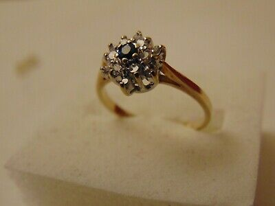 Vintage Solid 9ct Gold Sapphire & CZ Cluster Ring Hallmarked SIZE H 1.5g  • 49.99£