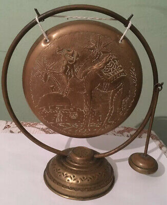 Vintage Arabic Brass Gong With Camel And Palm Trees Design • 10.49£