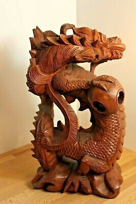 Chinese Japanese Carved Wood Three Claw Dragon Sculpture Figure Carving • 50£