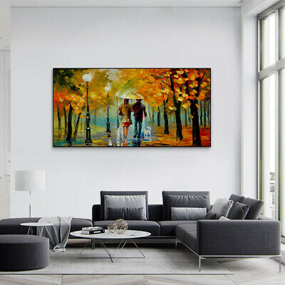 Lovers Walking Under Umbrella In Autumn Painting Canvas Wall Art Picture Print • 10.79£
