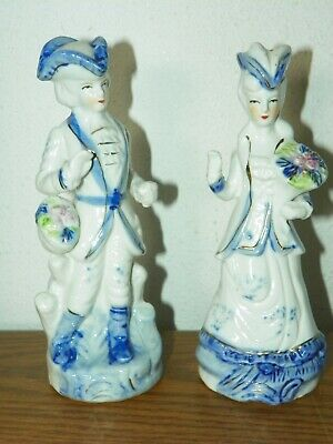 $ CDN15.77 • Buy Vintage Porcelain Figurines Glossy White & Blue Colonial Man & Woman Couple