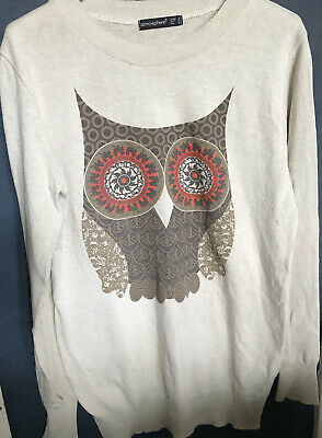 Cotton Mix Jumper With Owl Design Uk 12 • 1.99£