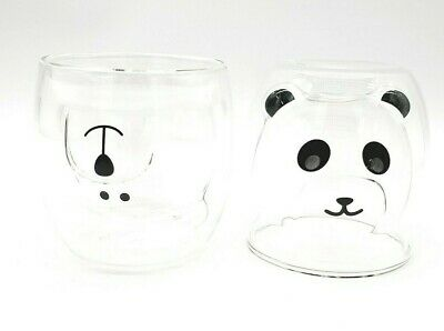 NEW 2x Cute Mugs Glass Double Wall Insulated Glasses: Espresso, Coffee, Tea Cup • 14.99£