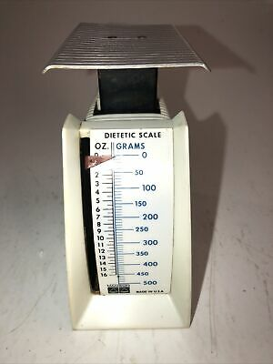 Small White Hanson Kitchen Dietetic Food Scale 0-16 Oz Vintage Cute Made In USA • 5.84£