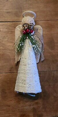 Primitive Americana Folk Art Angel Christmas Tree Topper Burlap Wings Pine Berry • 20.37£
