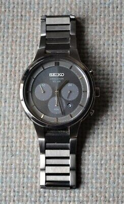 $ CDN159.49 • Buy Men's SEIKO CHRONOGRAPH SOLAR Wrist WATCH Black Stainless V175-Working