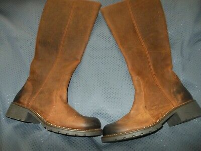 Clarks Ladies Orinoco Tan Warmlined Leather Knee High Boots Fits Size 4D • 24.99£