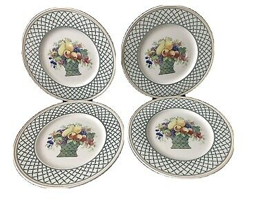 "4 Villeroy & Boch China BASKET Dinner Plates 10 1/2"" • 40£"