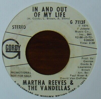 MARTHA REEVES & The VANDELLAS - In And Out Of My Life - GORDY - Motown - Promo • 8.99£
