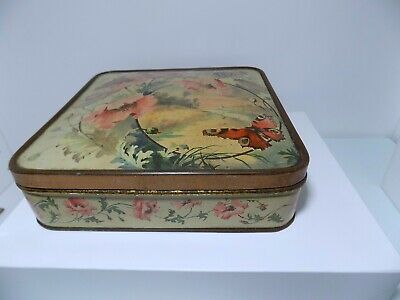 W & R Jacob & Co Butterfly Biscuit Tin C1890s   • 9.99£