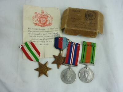WWII British Army Italy Star Group Of Four Medals War, Defence, 1939-45, Boxed • 44.95£