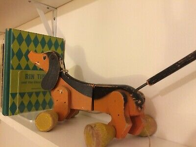 Vintage Retro Wooden Pull Along Toy Dog On Wheels • 8.80£