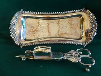 ANTIQUE 19th C SILVER PLATED CANDLE SNUFFER & WICK TRIMMER WITH TRAY • 50£