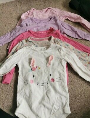 TU Baby Girls 5 X Long Sleeved Bunny Bodysuits/ Vests 18-24 Months Easter • 3£