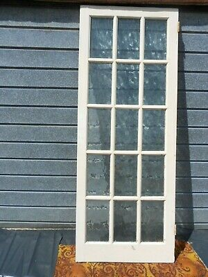 INTERIOR WOODEN GLAZED DOOR  (NOM.  2ft 6in)  WITH 15 CLEAR RIPPLE PATTERNED GLA • 18£