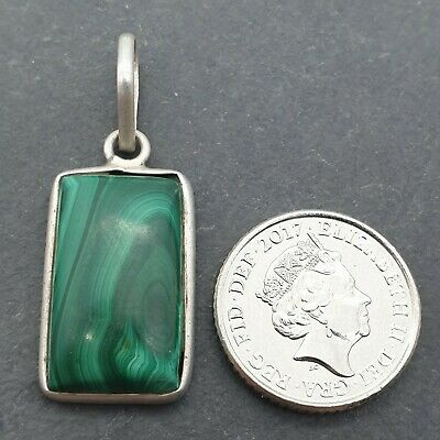 Preloved Sterling Silver & Striped Malachite Pendant - 34mm Long 14mm Wide - • 6.99£