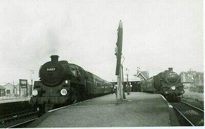 Railway Photograph LSWR/SR Wareham Station With 76007 And 80138 On Trains • 2£