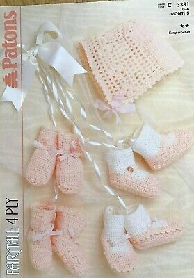 Patons Crochet Pattern For Baby's Bonnet, Bootees, Mitts And Shoes. 0-6 Mths • 2.50£