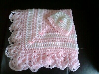 Hand Crochet Dolls Shawl/Blanket And Hat Set Pink And White Adorable • 7.75£