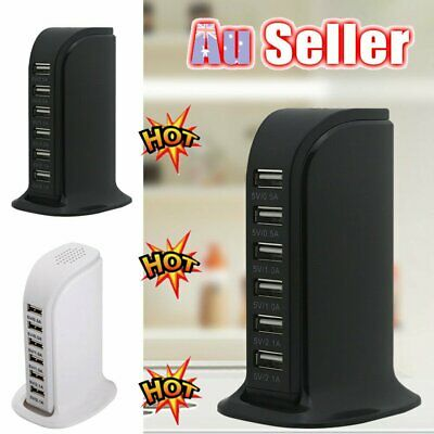 AU19.86 • Buy 6 Port Charging Station USB Desktop Charger Rapid Tower Power Adapter Wall XD