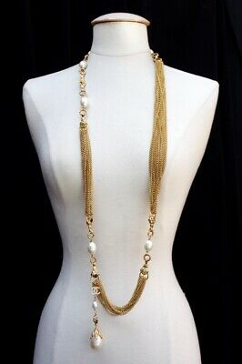 £1557.58 • Buy CHANEL Elegant Multi Gilted Metal Chains Necklace With Faux Pearls