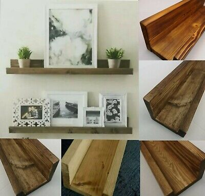 Solid Wood Picture Shelf Ledge - Various Sizes & Colours Available • 12.99£