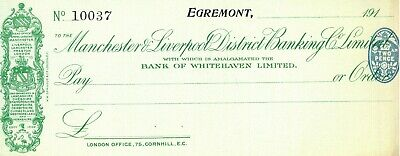 Manchester & Liverpool Bank - FIVE Unused Cheques, 1919- 1922. • 5£