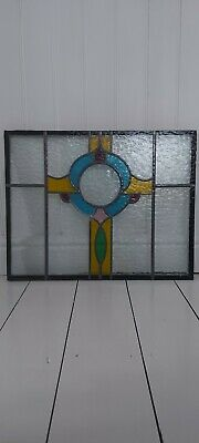 2 Vintage Leaded Stained Coloured Glass Window Panels 1 Double 1 Single Glazed • 49.99£