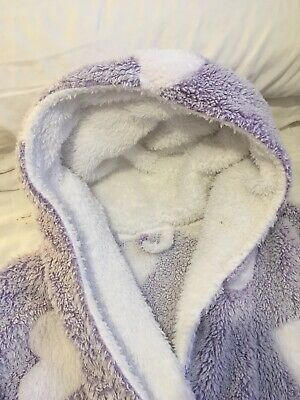 Thick Super Soft Fleece Purple White Heart Hooded Dressing Gown, Size M (12/14) • 5.50£