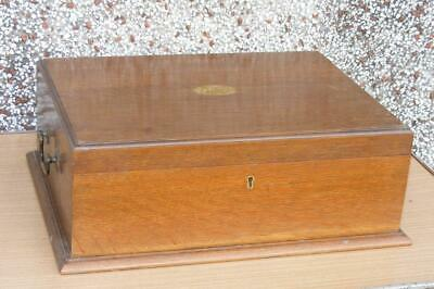 Antique Solid Oak Empty Cutlery Box/Canteen With Tray, No Key 18.5  X 14  X 6.5  • 60£