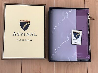 Aspinal Of London Small Purple Patent Leather Zip Purse/pouch Brand New In Box • 35£