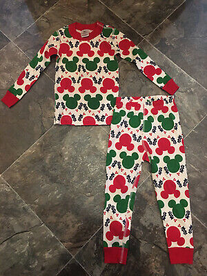 $17.99 • Buy NWOT Hanna Andersson Mickey Mouse Red Green Pajamas Size 90 3T